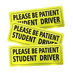 "Set of 3 ""Please Be Patient Student Driver"" Safety Sign Vehicle Bumper Magnet – Reflective Vehicle Car Sign Sticker Bumper for New Drivers"