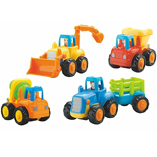 Set Of Four Colorful Construction Trucks For Toddlers, Fun Motion Learning Toy For Your Baby's Education And Early Sensory Development