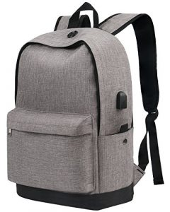 Backpack, Water Resistant School Backpack with USB Charging Port for Women Men, Canvas College Student Rucksack Fits 15.6 Inch Laptop and Notebook, Daypack for Travel Outdoor Camping