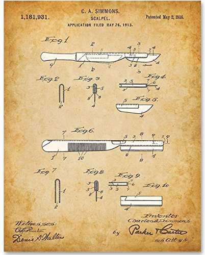 Scalpel - 11x14 Unframed Patent Print - Great Gift for Doctors or Medical Students