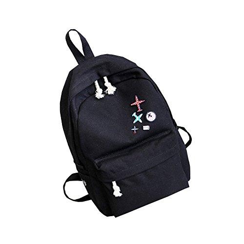 Urmiss Simple Badge Vintage Canvas College Backpack High School Student Bag