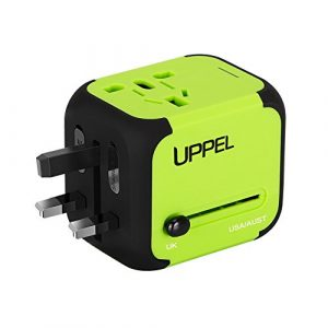 UPPEL Travel Adapter Dual USB All-in-one Worldwide Travel Chargers Adapters for US EU UK AU about 151 countries Wall Universal Power Plug Adapter Charger with Dual USB and Safety Fuse (Green)