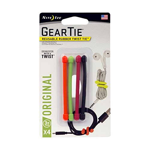 Nite Ize GT3-4PK-A1  Original Gear Tie, Reusable Rubber Twist Tie, Made in the USA, 3-Inch, Assorted Colors, 4 Pack