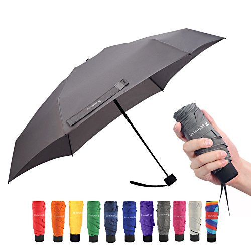 Ke.movan Travel Compact Umbrella Small Mini Umbrella for Backpack, Purse, Pocket - Fits Adults & Kids(Grey)