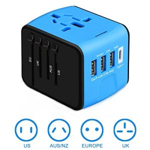 [Upgraded] Universal Travel Adapter International Power Adapters European Adapter, 3 USB & Type C Charger, All in One Adapter Wall Charger for US UK AUS EU Asia Phone/Laptop 150+Countries, Blue