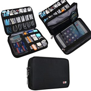 BUBM Double Layer Electronic Accessories Organizer, Travel Gadget Carry Bag, Perfect Size Fit for iPad Mini (Medium, Black) Reviews