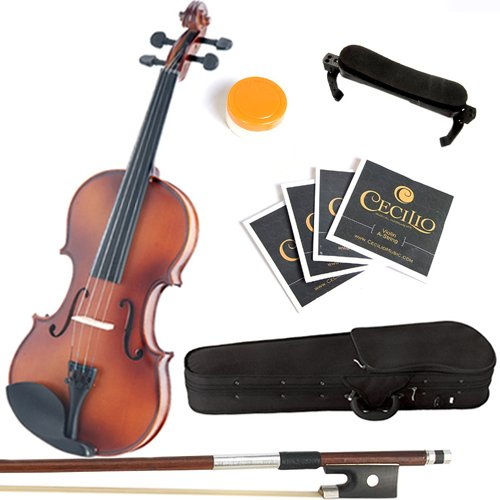 Mendini 1/10 MV300 Solid Wood Satin Antique Violin with Hard Case, Shoulder Rest, Bow, Rosin and Extra Strings