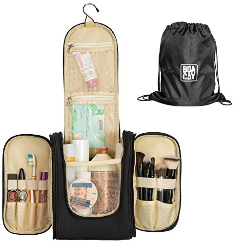 Travel Toiletry Bag | Waterproof - Toiletry Bag | Hanging Toiletry Bag-Women-Men | With Unique Drawstring Backpack | Great as a GlFT | Toiletry Bag For Women | Cosmetic Travel Bag & Brush Holder