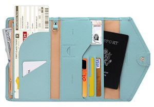 Zoppen Multi-purpose Rfid Blocking Travel Passport Wallet (Ver.4) Tri-fold Document Organizer Holder, #23 Paradise Blue