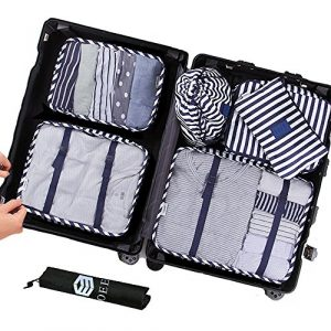 OEE 7 pcs Luggage Packing Organizers Packing Cubes Set for Travel, Navy Blue Stripe