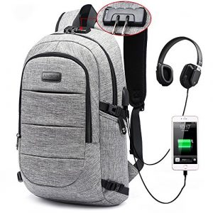 Business Laptop Backpack, Anti Theft Waterproof Travel Backpack with USB Charging Port & Headphone interface for College Student,Fits Under 15.6-Inch Laptop Notebook by AMBOR