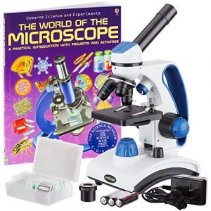 AmScope AWARDED 2016 BEST STUDENT MICROSCOPE 40X-1000X Dual Light Glass Lens All-Metal Frame Student Microscope with Slides and Book Reviews