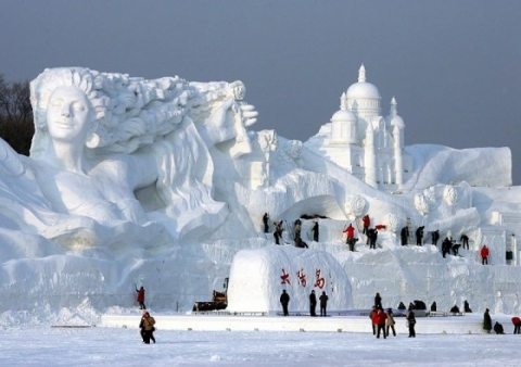 """Romantic Feelings"", the world's largest snow sculpture, was constructed in Heilongjiang Province, China. The centerpiece stretched the staggering 656 ft long and 115 ft tall."