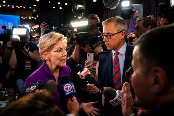 Senator Elizabeth Warren of Massachusetts spoke to reporters in the spin room after the debate on Wednesday night.