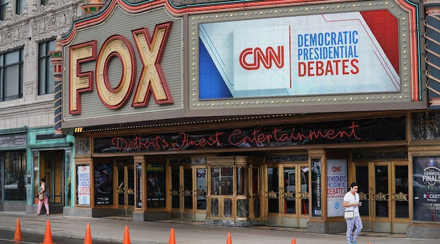 DETROIT, MICHIGAN - JULY 29: The Fox Theater and surrounding downtown area is prepared for the Democratic Presidential Debate hosted by CNN on July 29, 2019 in Detroit, Michigan. The debate, which will take place on July 30 and 31, will feature the top 20 Democratic candidates. (Photo by Scott Olson/Getty Images)