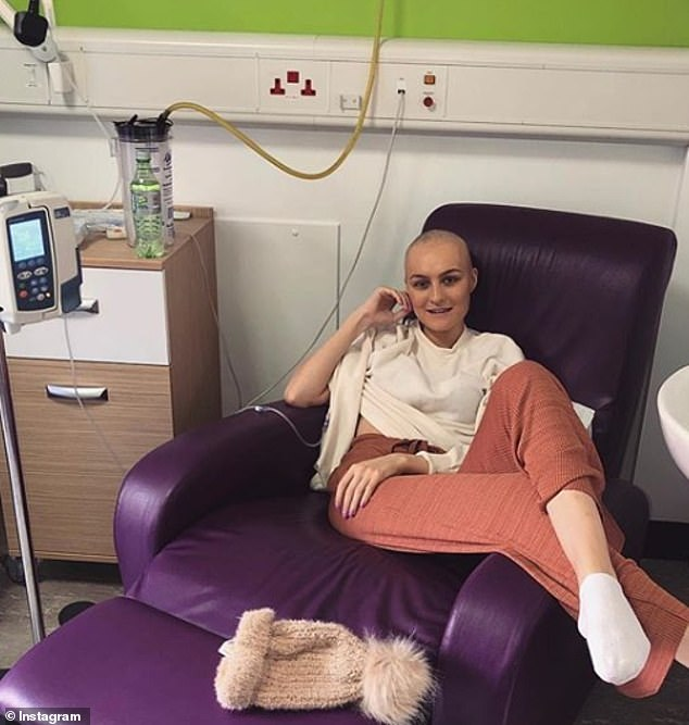 Daisy has since raised £40,000 in just days, and says any funds not used for treatments will be donated to charity (pictured undergoing treatment in March)