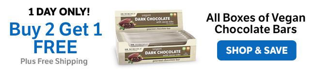Buy Two Get One Free on All Boxes of Vegan Chocolate Bars