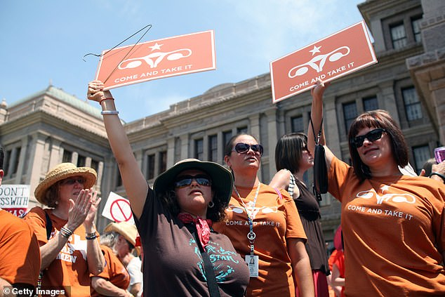 The majority of attempted online orders for medication abortions placed to one organization came from states with strict laws to limit abortion access, such as Texas, where an 11-hour filibuster by Senator Wendy Davis and protests outside the capitol failed to block a bill banning abortions after 21 weeks in the state in 2013 (pictured/file)