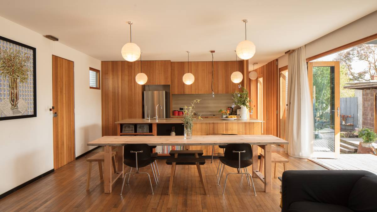 SUSTAINABLE: To create an entirely recyclable kitchen, PureBond Plywood, recycled plastic panel and re-machined recycled timber dressed with natural oils and cement sheet were used.