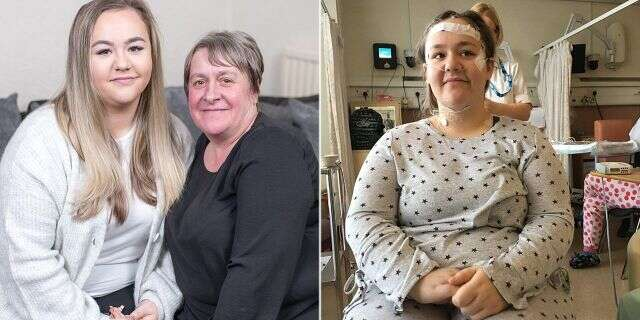 Billie Hodgson and her mother (left) and Billie Hodgson undergoing testing (right).