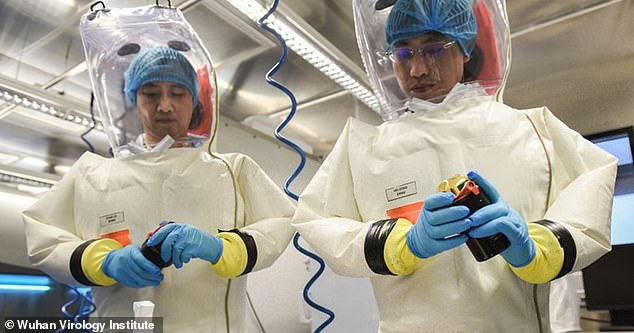 Researchers are pictured at the Wuhan Institute of Virology, where conspiracy theorists claim the virus could have been created by scientists