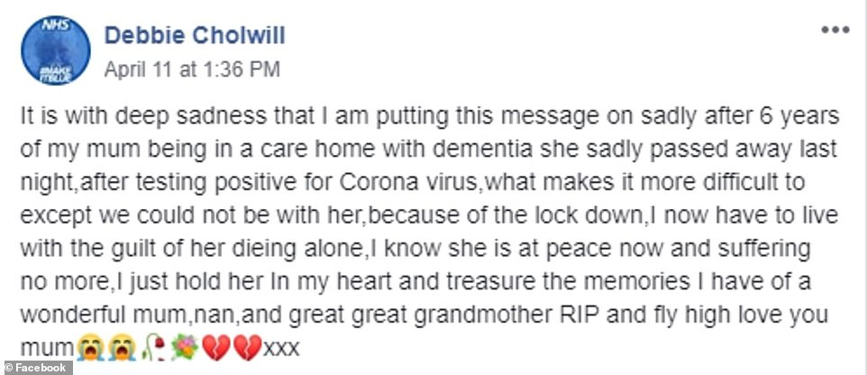MsCholwill paid tribute to her beloved mother after her death just days ago