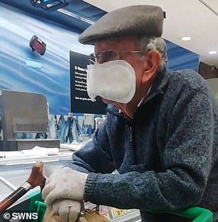 A man in Fife, Scotland, shocked shoppers when he turned up at Asda wearing a mask made from a sanitary towel