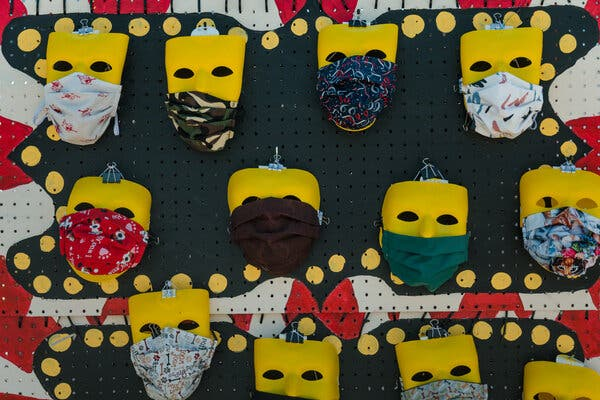 Homemade masks for sale in Dinuba, Calif., earlier this month.