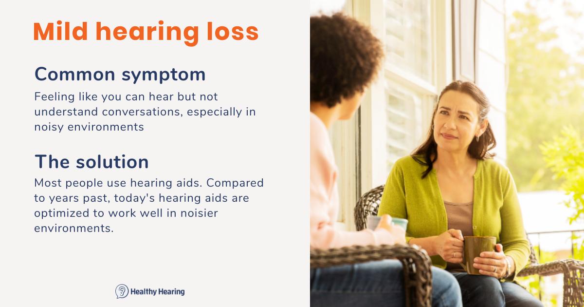 Illustration on main symptom and treatment for mild hearing loss