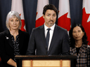 Health Minister Patty Hajdu, Prime Minister Justin Trudeau, and Chief Public Health Officer Dr. Theresa Tam on March 11, 2020. After 12 months of mask mandates and lockdowns, it's easy for Canadians to forget just how unwilling their leaders had been to put this country on a pandemic footing.