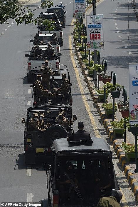 Soldiers patrol in Lahore